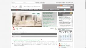 Página inicial del Diario Oficial de la Federación.